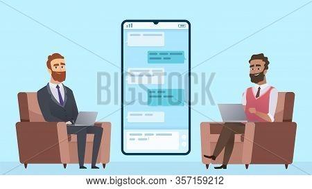 Business Correspondence. Businessman Communicates With Freelancer. International Collaboration, Remo