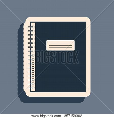 Black Notebook Icon On Grey Background. Spiral Notepad Icon. School Notebook. Writing Pad. Diary For