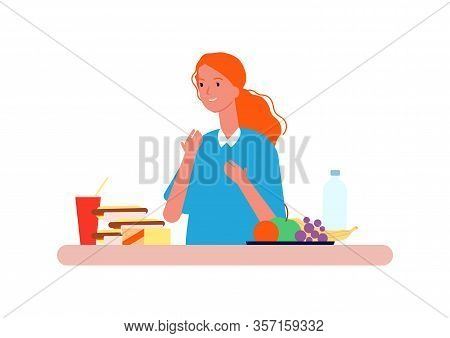 Food Choice. Woman Choosing Between Healthy And Unhealthy Nutrition. Diet Vector Concept. Nutrition