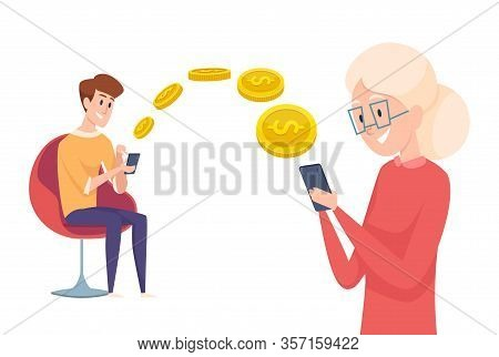 Money Transfer. Boy Send Pay With Phone. Financial Assistance To Parents Or Grandmother Vector Conce