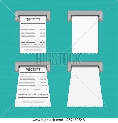 Blank Vector Shopping Cash Receipt. Paper Printed Atm Transaction Record Receipt. Design Template Of