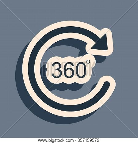 Black Angle 360 Degrees Icon Isolated On Grey Background. Rotation Of 360 Degrees. Geometry Math Sym