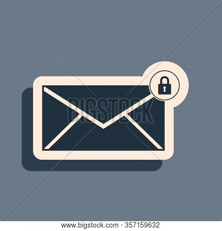 Black Email Message Lock Password Icon Isolated On Grey Background. Envelope With Padlock Sign. Priv