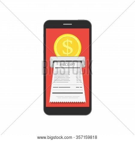 Receipt Bill On Smartphone Screen. Billing Check Online, Bills Checking Or Paycheck Receipts Mobile