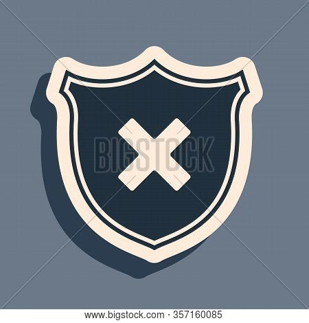 Black Shield And Cross X Mark Icon Isolated On Grey Background. Denied Disapproved Sign. Protection,