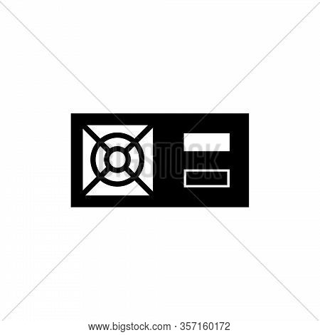 Pc Power Supply, Ups, Computer Stabilizer. Flat Vector Icon Illustration. Simple Black Symbol On Whi