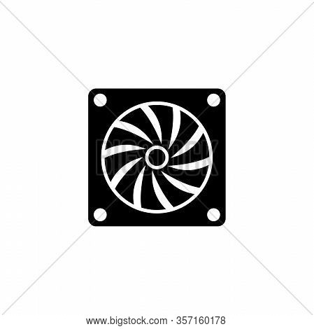 Hardware Computer Fan, Air Pc Cooler. Flat Vector Icon Illustration. Simple Black Symbol On White Ba