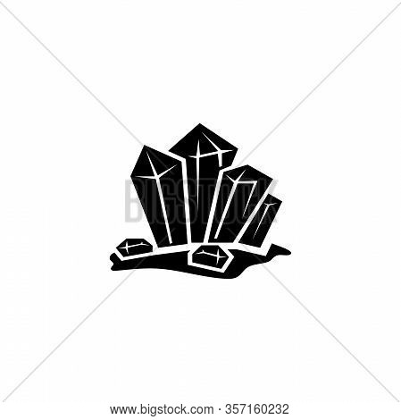 Crystal Stone, Crystalline Gem, Gemstone. Flat Vector Icon Illustration. Simple Black Symbol On Whit