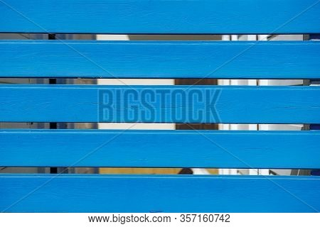 Background Of A Blue Horizontal Wooden Palisade
