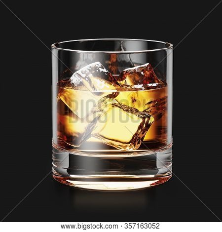 Glass Of Whiskey And Ice On Black Background 3d