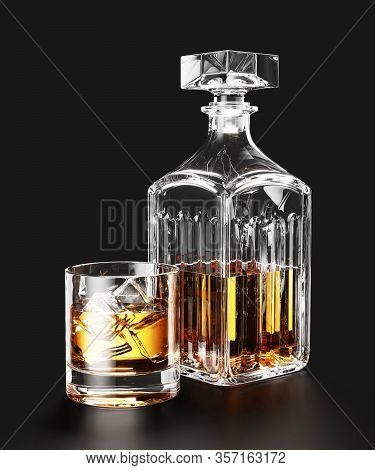 Bottle Of Whiskey And Ice In Glass On Black Background 3d