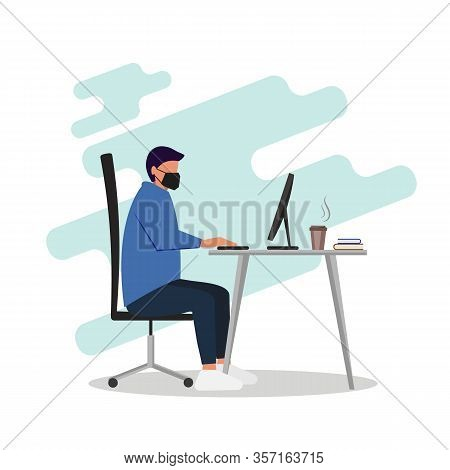 Coronavirus. Quarantine No Infection and Stop Coronavirus Concepts. Man in medical mask working on his laptop. Office worker works on quarantine at home to avoid disease. Freelancer or remote worker concept. Vector illustration isolated on white backgroun