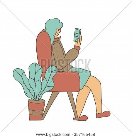 Attractive Woman Reading An Electronic Book Isolated. Female Character Enjoying Her Own Company. Lad