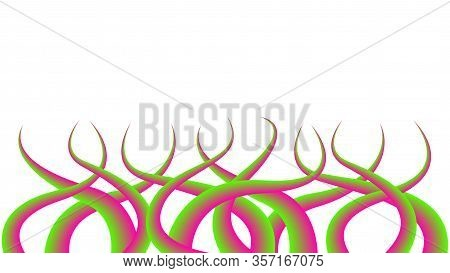 Thorns Sharp Isolated On White Background, Liana Thorn Graphic Colorful Gradient Art, Floral Branch