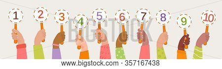 Human Hands Of Different Skin Colors Hold Referee Cards. Hands Of The Jury Raised Up. Voting, Assess