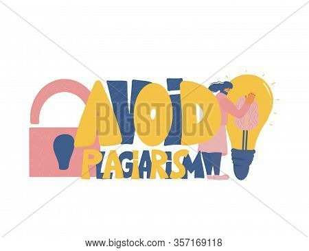 Avoid Plagiarism Emblem, Copyright. Young Woman Trying To Protect Her Idea. Intellectual Property Me