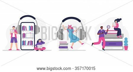People Listen To Music, Audiobook, Podcast Or Language Lessons. Set Of Concepts With People. Vector