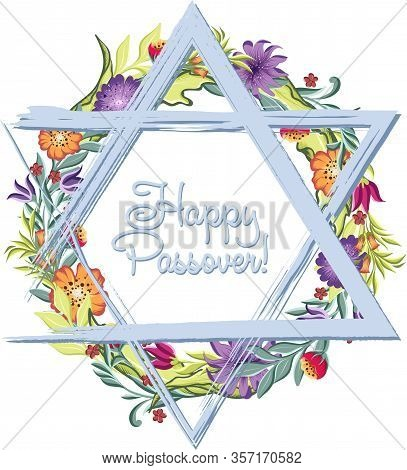 Happy Passover Jewish Lettering And Star Of David