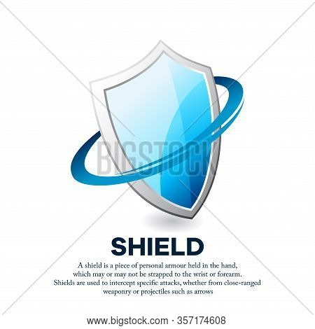 Vector Illustration Of A Shiny Iron Shield Surrounded By Swoosh Shapes. Suitable For Protection, Hea