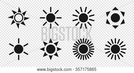 Sun Collection. Sun Vector Icons, Isolated On Transparent Background. Sun Black Icons Different Shap