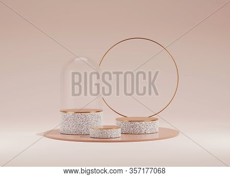 3d Podium Display Tube, With Rim And Glass Dome. Terrazzo Texture Over Pastel Beige Background. Beau