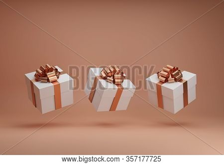 White Gift Boxes With Golden Ribbon Bow Levitating On Natural Beige Background. Flying Present Abstr