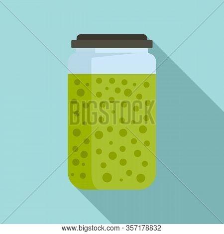 Peas Sauce Jar Icon. Flat Illustration Of Peas Sauce Jar Vector Icon For Web Design