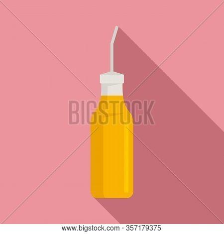 Aromatic Mustard Bottle Icon. Flat Illustration Of Aromatic Mustard Bottle Vector Icon For Web Desig