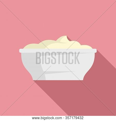 Mayonnaise Bowl Icon. Flat Illustration Of Mayonnaise Bowl Vector Icon For Web Design