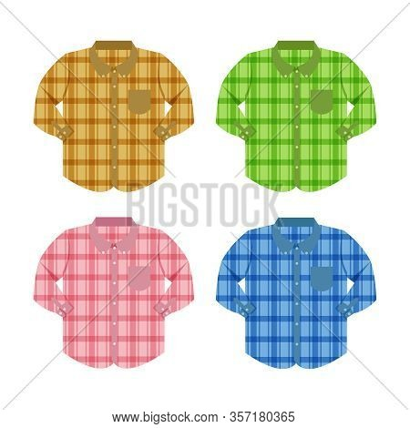 Plaid Shirt Clothes Isolated On White Background, Clothes Pattern Plaid Collection Flat Simple, Clip