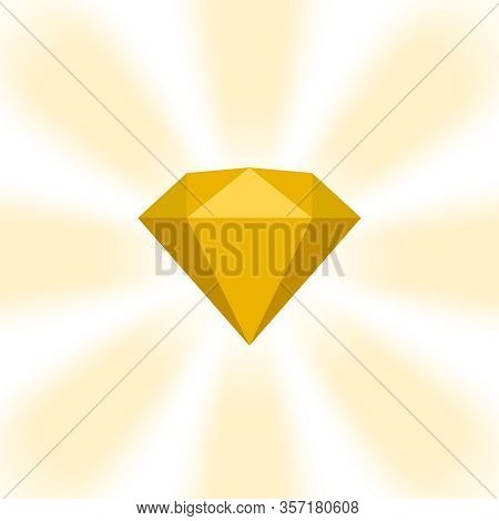 Gold Diamond Gemstone On Zoom Comics, Golden Flat Diamonds Jewelry Icon, Gold Gems On Soft Rays Burs