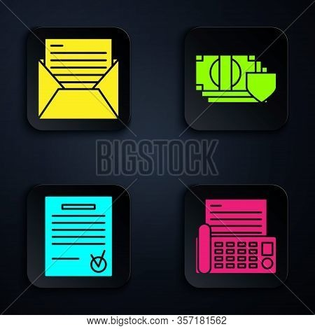 Set Fax Machine, Mail And E-mail, Confirmed Document And Check Mark And Money With Shield. Black Squ