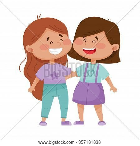 Friendly Little Girls Embracing Each Other Vector Illustration