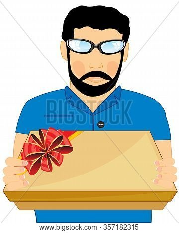 Vector Illustration Young Men With Gift By Box In Hand