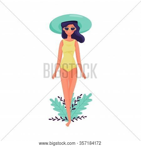 Dark-haired Girl In Sunglasses And Swimsuit Walking Along The Beach Vector Illustration