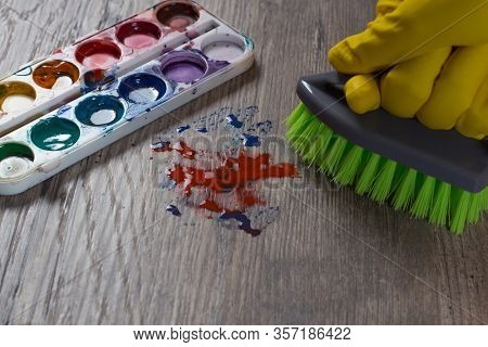 The Woman Brushing The Stain From The Paint. Clean Up, Wash. A Mess. A Gloved Hand Wipes The Stain F