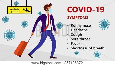 Symptoms Of Wuhan Novel Corona Virus Disease Covid-19 , Mers-cov, Man In Suit With Blue Medical Face