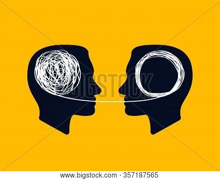Concept Icon Showing Silhouette Of Human Heads With Tangled Line Inside, Like Brain And Untangled Li