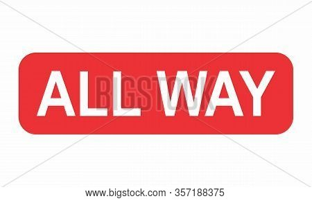 All Way Road Sign Illustration On White Background
