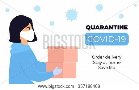 Covid-19. Quarantine. Coronavirus Epidemic. A Girl Courier In A Protective Medical Mask Holds Parcel