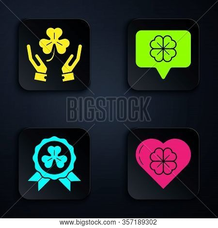 Set Heart With Four Leaf Clover, Human Hands Holding Four Leaf Clover, Medal With Four Leaf Clover A