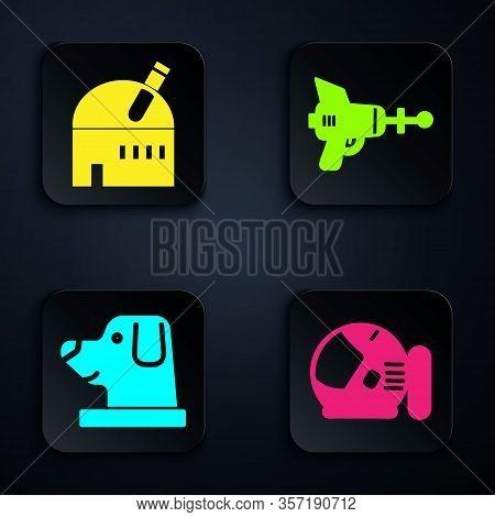 Set Astronaut Helmet, Astronomical Observatory, Dog In Astronaut Helmet And Ray Gun. Black Square Bu