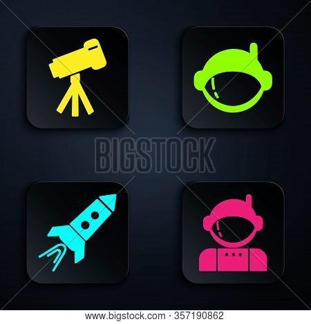 Set Astronaut, Telescope, Rocket Ship With Fire And Astronaut Helmet. Black Square Button. Vector