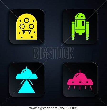 Set Ufo Flying Spaceship, Alien, Ufo Flying Spaceship And Robot. Black Square Button. Vector