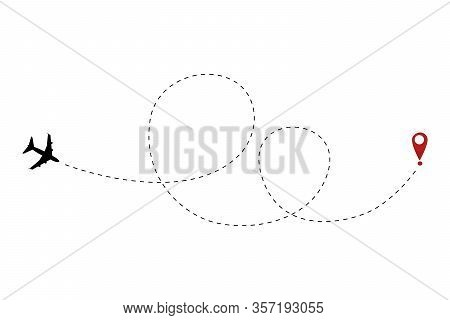 Airplane Track To Point With Dashed Line Way. Path Route Symbol Flat Vector Sign Isolated On White B