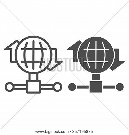 Internet Connection Bandwidth Line And Solid Icon. Globe And Fiber Optic Wire Symbol, Outline Style