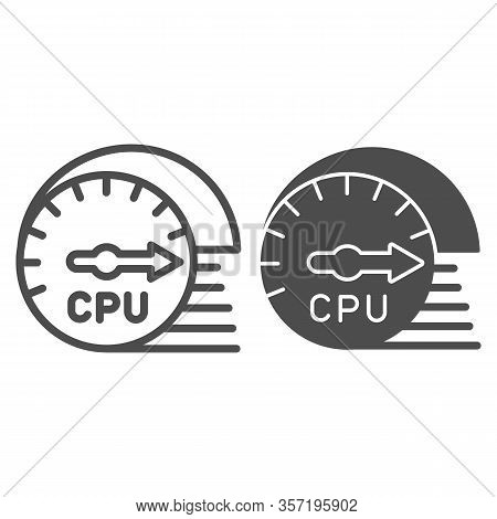 Processor Usage And Load Speed Line And Solid Icon. Cpu Chip Performance Sensor Symbol, Outline Styl