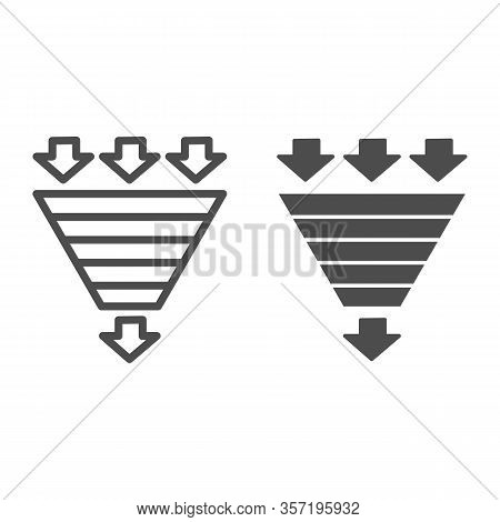 Bottleneck Chart Line And Solid Icon. Consumption Pyramid, Funnel Diagram Symbol, Outline Style Pict