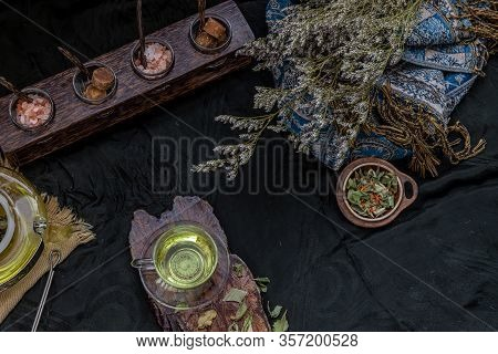 A Beautiful Composition With A Hot Pandan Leaf Tea With Indian Marsh Fleabane Plant Leaves And Saffl