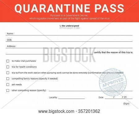 Personal Admission Form During The Quarantine Restriction Measures.